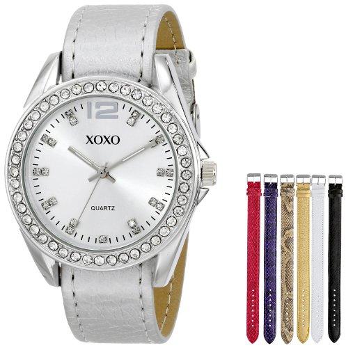 Xoxo women 39 s xo9062 silver tone watch with interchangeable bands jodyshop for Watches xoxo