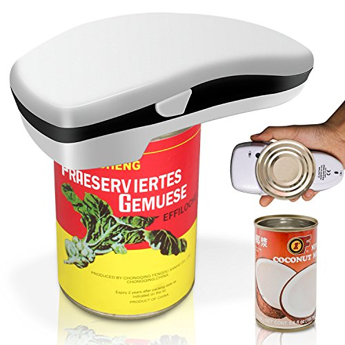 Electric Can Opener with Smooth Edges for Seniors, White Kitchen Aid by NEWONDER (White)