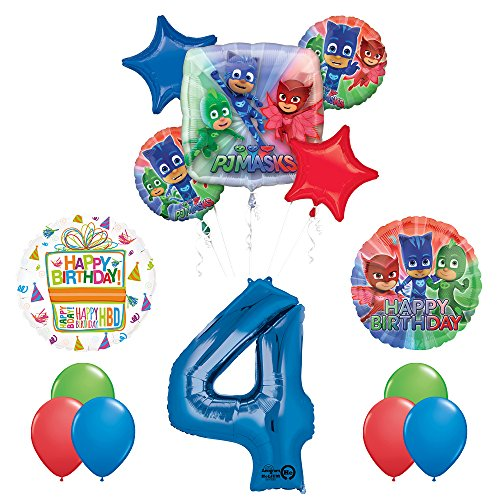 The Ultimate PJ MASKS 4th Birthday Party Supplies and Balloon decorations by Mayflower Products