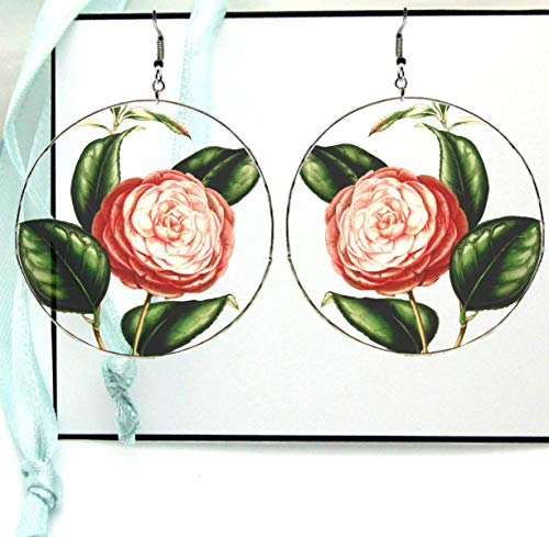 Camellia Flower Drop Hoop Earrings, Real Colorful Plant Illustrations & Drawings, Silver Glass Resin, Large