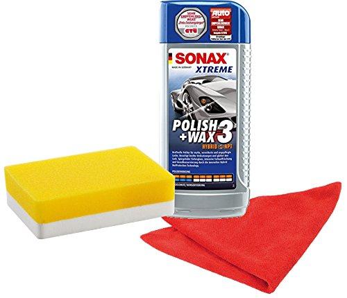 SONAX 202741 XTREME Polish+Wax 3 Hybrid NPT Set 500ml inkl. gratis Applikationsschwamm und Mikrofasertuch