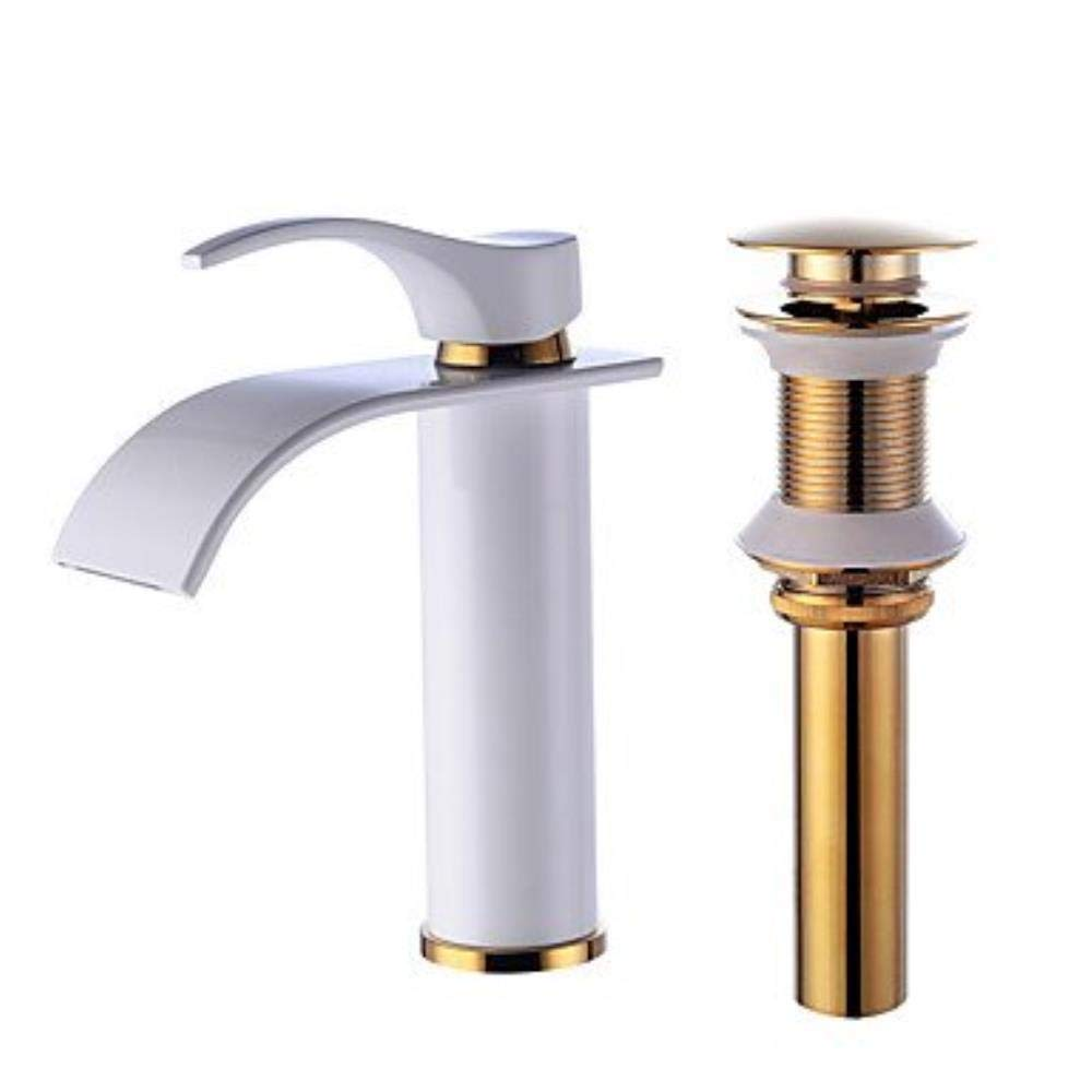 Bathroom Kitchen Sink Faucet, Basin Sink Mixer Tap Sink Brass Square Hot and Cold Water Single Handle Wide Mouth Bathroom Faucet Basin Taps