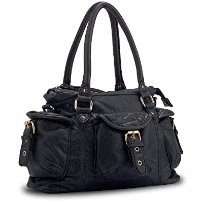 Pluck & Swagger Kiki Women's Black Faux Leather Convertible Crossbody Mini Satchel Handbag