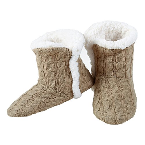 Yelete Womens Cable Knit Slippers House Booties Socks Soft Sherpa Lining Rubber Soles Tan 39FzDpW