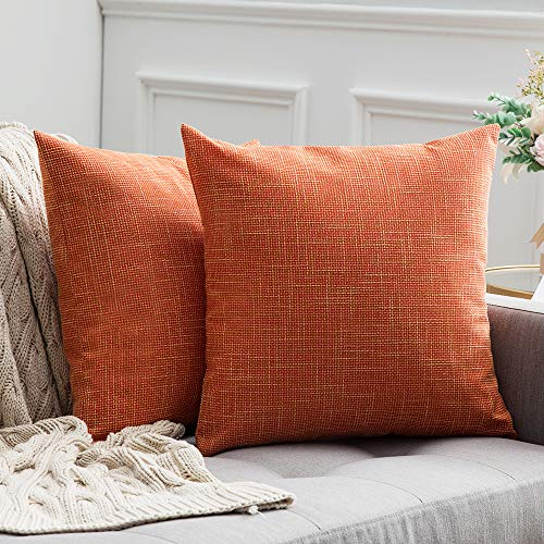 MIULEE Pack of 2 Decorative Square Throw Pillow Covers Farmhouse Style Linen Cushion Cases Vintage Decor Orange Pillow Cases for Couch Sofa Bedroom Car 20 x 20 Inch 50 x 50 cm