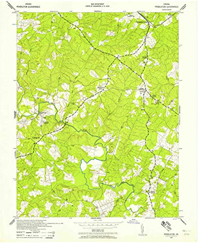 YellowMaps Pendleton VA topo map, 1:24000 Scale, 7.5 X 7.5 Minute, Historical, 1942, Updated 1958, 27 x 22 in - Paper ()