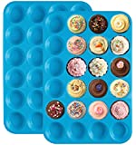 Ozera Silicone Mini Muffin Pan (2 Pack), Non Stick Tray / Bakeware - Silicon 24 Cup Mold, Blue