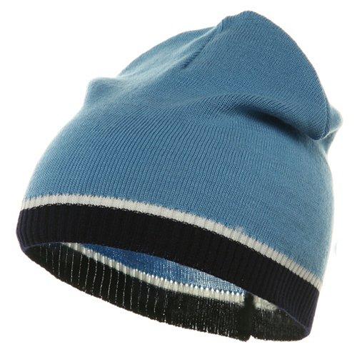 (Tri Color Short Beanie-Blue Navy)