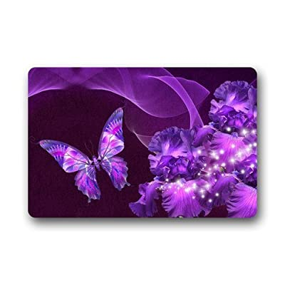 Pingshoes Custom Machine-Washable Door Mat Purple Butterfly and Flower Doormat
