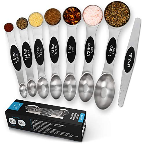 Premium Stainless Steel Magnetic Measuring Spoons, 8 Piece Set with Leveler, Easy to Attach and Detach, Double-Sided Design fits Spice Jars, Perfect for Measuring Liquid & Dry Ingredients - by Zulay (Stainless Measuring Steel Steel Spoons)