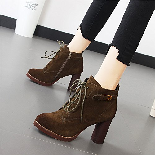HBDLH Scarpe da donna/Frosted 9Cm High Heels Martin Boots Ankle Boots Sexy And Comfortable Women'S Shoes Autumn And Winter Thick And Short Boots. Khaki GibdE