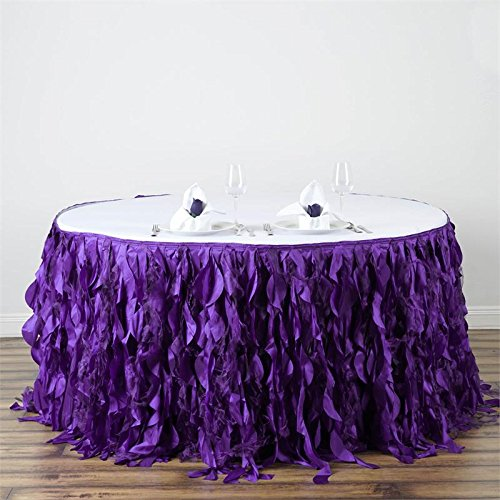 BalsaCircle 14 feet x 29-Inch Purple Curly Waves Taffeta Table Skirt Linens Wedding Party Events Decorations Kitchen Dining by BalsaCircle