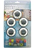 5 Pcs Electric Range Knob Set Replacement Black with Silver Overlay By Aqua Plumb #RKE