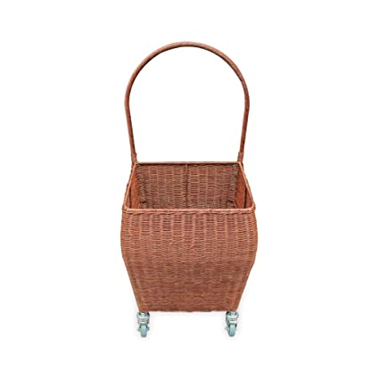TROLLEY Hand-Made Wicker cart on Wheels for Children/'s Toys basket on wheels