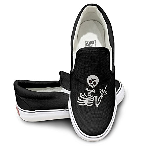 fuck-skull-skeleton-flipping-fashion-slip-on-canvas-sneakers-35-black