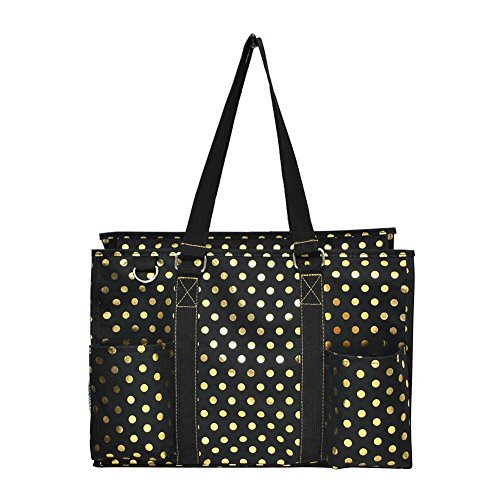 Mini Top Zip Mini Bag - N Gil All Purpose Organizer Medium Utility Tote Bag 3 (Gold Polka Dot Black)