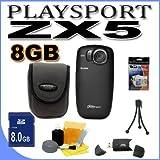 Kodak PlaySport (Zx5) HD Waterproof Pocket Video Camera - Black (2nd Generation) 8GB Accessory Saver Bundle