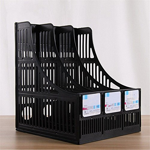 - Plastic A4 File/Magazine Holder Storage Organizer Boxes Office Desk Three Column File Bar Three Column Magazine Rack Office Data Frame(2 Groups/Batch),Black
