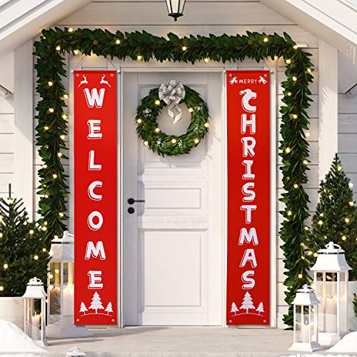 HB-life Merry Christmas Banner,Welcome Christmas Porch Sign for Christmas Decoration Outdoor Indoor, Christmas Banner Red Xmas Decor Banners for Home Decor (Decorating Indoor Porch)
