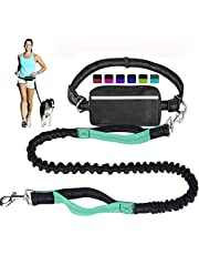 Hands Free Dog Leash for Running Walking Training Hiking, Dual-Handle Reflective Bungee, Poop Bag Dispenser Pouch, Adjustable Waist Belt, Shock Absorbing, Ideal for Medium to Large Dogs (Black+Teal)