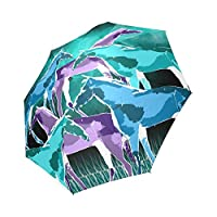 Artsadd Fashion Umbrella Horses Under A Galaxy Foldable Sun Rain Travel Umbrella