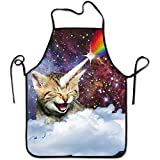 Funny Cat Unicorn Rainbow1 Personalized Aprons Adjustable Chef Apron For Cooking,Baking,Barbecue