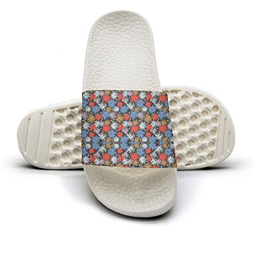 Yellow Tropical Flowers Plants Patterns Summer Slippers For Men