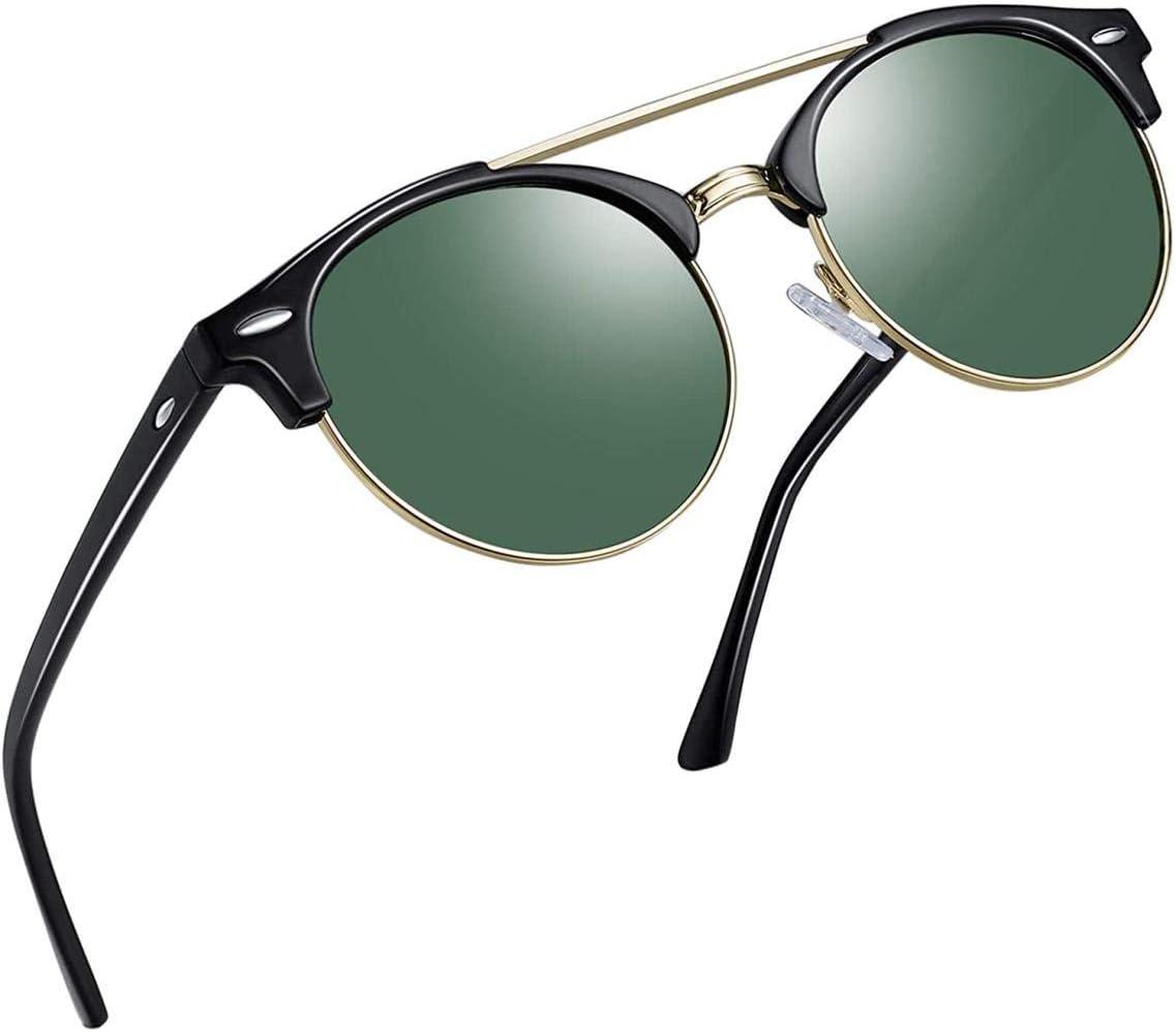 MRXW Gafas de Sol polarizadas para Las Mujeres Que los Hombres browline, 100% protección UV, Marca con la Parte de atrás Doble Puente Gafas de Sol Hombre