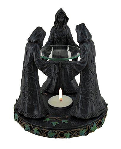 Resin Home Fragrance Lamps Mystical Magic Circle Tea Light Oil Burner Aroma Diffuser 6 X 6 X 6 Inches Black