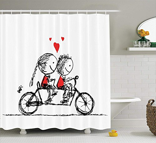 Soul Mate Dolphins - dolphin Ty Bicycle Decor Shower Curtain, Children Love Couple Cycling Together Soul Mates Characters Valentines Sketch Print, Polyester Fabric Bathroom Set with Hooks, 60W X 72, Black White Scarlet