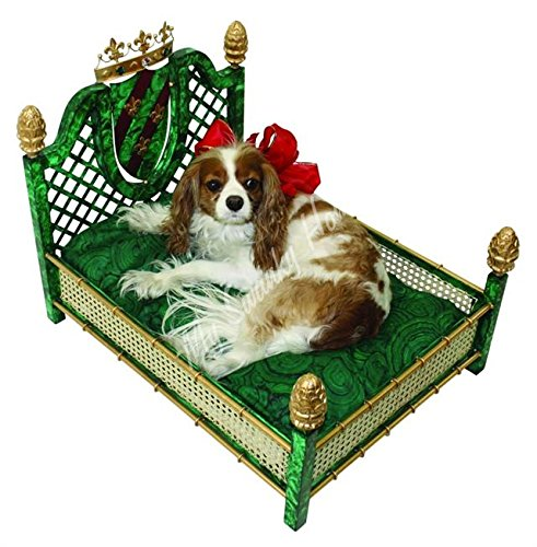 Art Deco Emerald Green Pet Dog Bed | Gold Rattan Malachite Crown