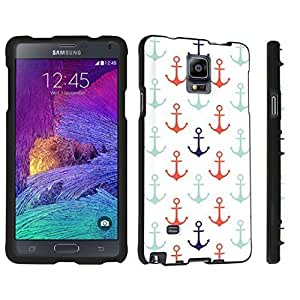 DuroCase ? Samsung Galaxy Note 4 Hard Case Black - (Nautical Anchors White)