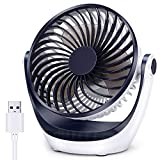 Aluan Desk Fan Small Table Fan with Strong Airflow Ultra Quiet Portable Fan Speed Adjustable Head 360°Rotatable Mini Personal Fan for Home Office Bedroom Table and Desktop 5.1 Inch