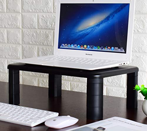 2-Pack Adjustable Monitor Stand with Storage Organization. Sturdy, Durable, No-Vibration Support. Convenient Slots for Tablet or Phone & Cables. Perfect Riser for Laptop, Printer. Stylish Black by Husky Mounts (Image #1)