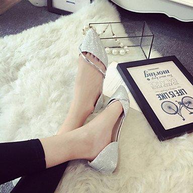 Cómodo y elegante soporte de zapatos de la mujer zapatos Bling talón plano Ballerina/punta Toe Flats oficina y carrera/Fiesta y tarde/vestido plata/oro, plata plata