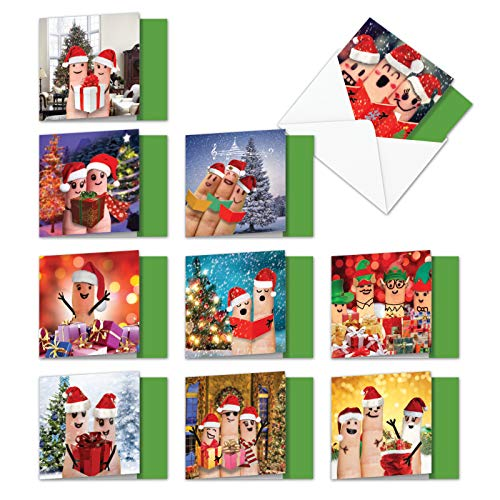 Christmas Fingers - 10 Assorted Boxed Merry Christmas Cards with Envelopes (4 x 5.12 inch) - Funny Finger Puppet Family, Xmas Notecard Set - Cute Stationery Set for Kids, Children MQ4983XSG-B1x10