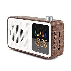 SEATIGER Retro Portable Bluetooth Speaker with Digital Alarm Clock Radio FM, Support TF Card/AUX-in and USB Charging (Walnut)