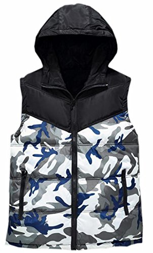 today-UK Mens Hooded Sleeveless Camouflage Puffer Quilted Down Vest 1