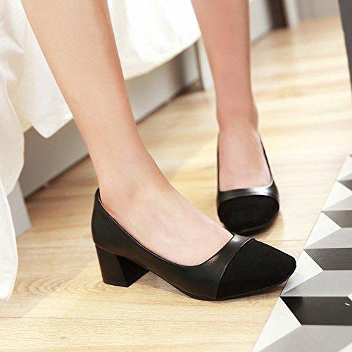Carolbar Scarpe Da Donna Tacco Quadrato Chic Chic Scarpe Con Tacco Medio Nero
