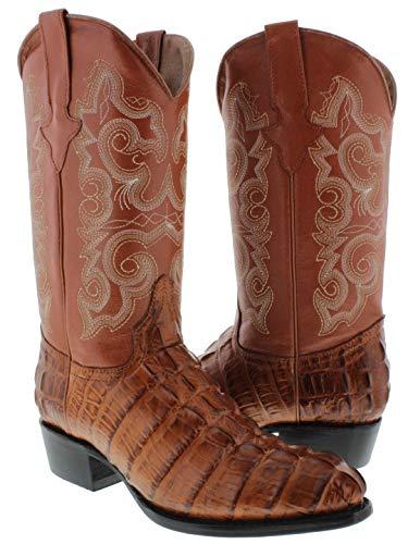 Team West - Men's Cognac Crocodile Design Leather Cowboy Boots Round Toe 9 D(M) US