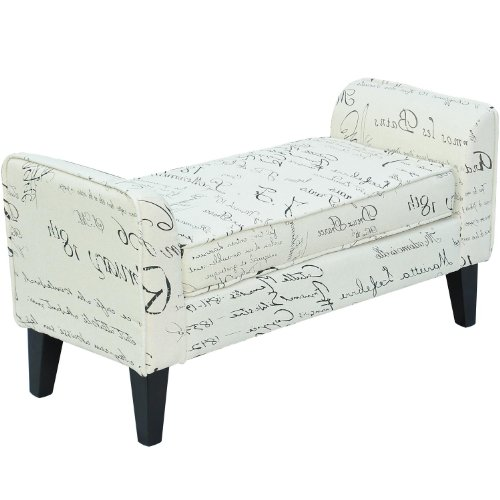 HomCom 41inches Modern Linen Armed Entryway Bench, Signature Print