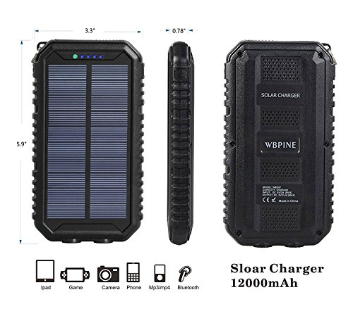 Solar Charger 12000mAh WBPINE Portable Solar Power Bank Shockproof/Dustproof/Waterproof Dual USB 2 LED Flashlights Cellphone More by WBPINE (Image #3)