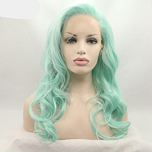 Hair mermaid green blue color mix color Synthetic lace front wig for women hair replacement wig half hand tied wig ()