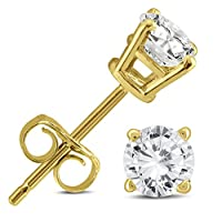 6a982a3f6 1/2 Carat TW AGS Certified Round Diamond Solitaire Stud Earrings in 14K  Yellow Gold