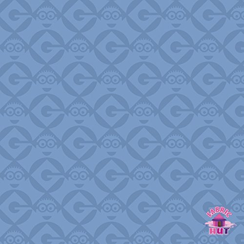 Despicable Me 1 in a Minion Geometric Blue Fabric by the Yard -