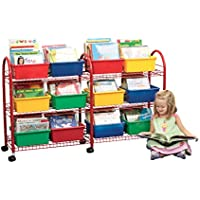 Childcraft Metal Mobile Leveled Library Unit, Trays Sold Separately, 57.5 W x 14 D x 36 H