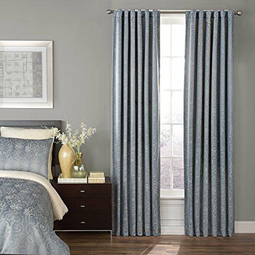 Beautyrest 16208052084SEB Avignon 52-Inch by 84-Inch Blackout Single Window Curtain Panel, Smokey Blue - Avignon Single