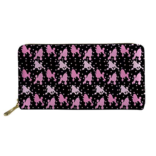 Showudesigns Leather Wallet Long Credit Card Holder Poodle Flower Purse Clutch Bag Women Money Clip Organizer]()