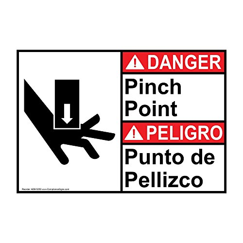 Danger Pinch Point ANSI Bilingual Safety Label Decal, 5x3.5 in. 4-Pack Vinyl for Machinery by ComplianceSigns