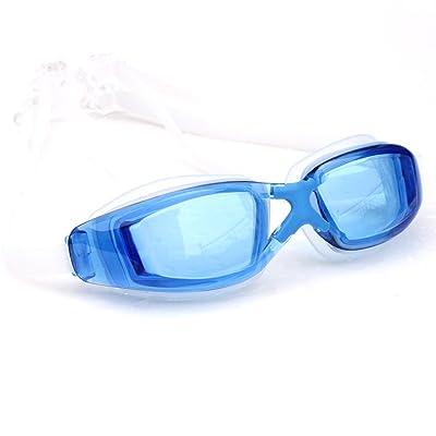 LXKMTYJ Lunettes de natation: Imperméable Big Box Hd myopie lunettes de natation de placage, bleu non Plaque Hiramitsu